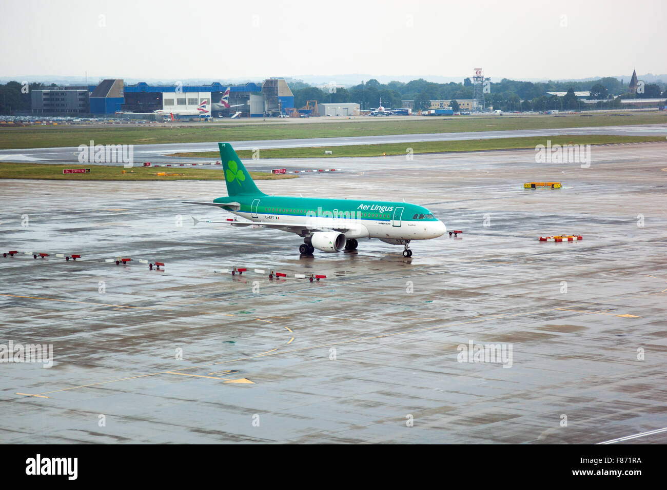 Aer Lingus airplane on the tarmac at an airport - Stock Image