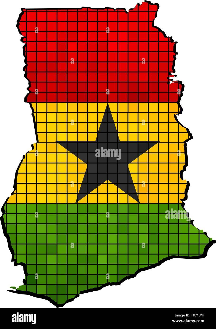 Ghana map with flag inside - Stock Vector