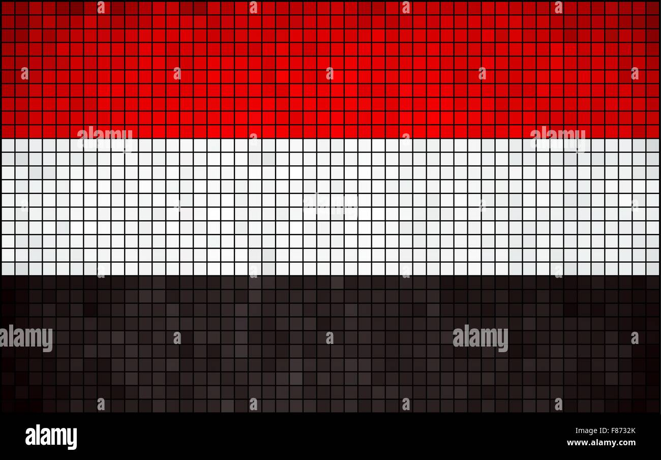 Abstract Mosaic Flag of Yemen - Stock Vector