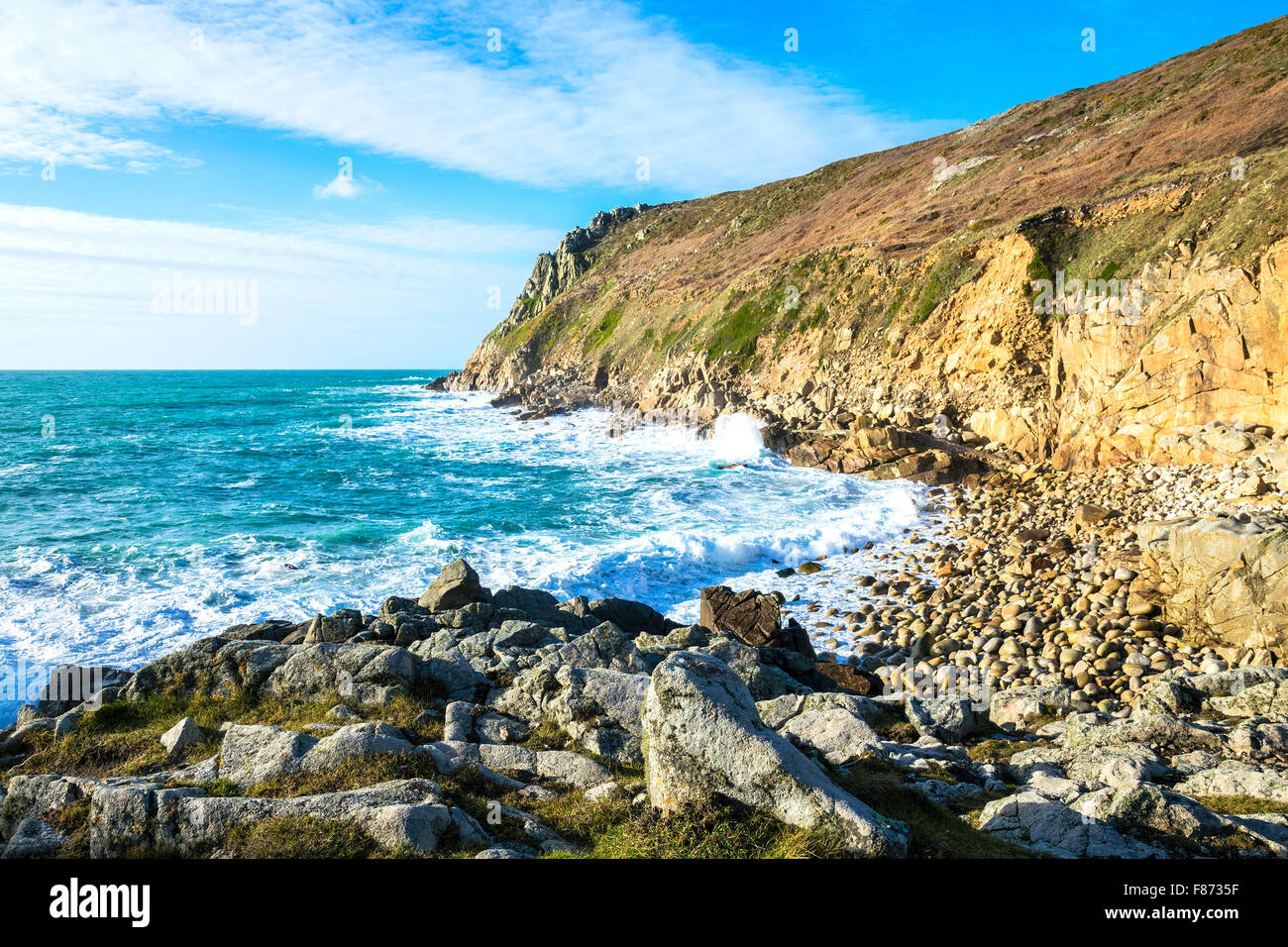 Cot Cove at Porth Nanven near St.Just in Cornwall, England, UK - Stock Image