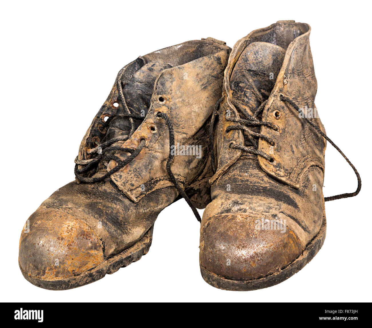 Two tough old boots - Stock Image