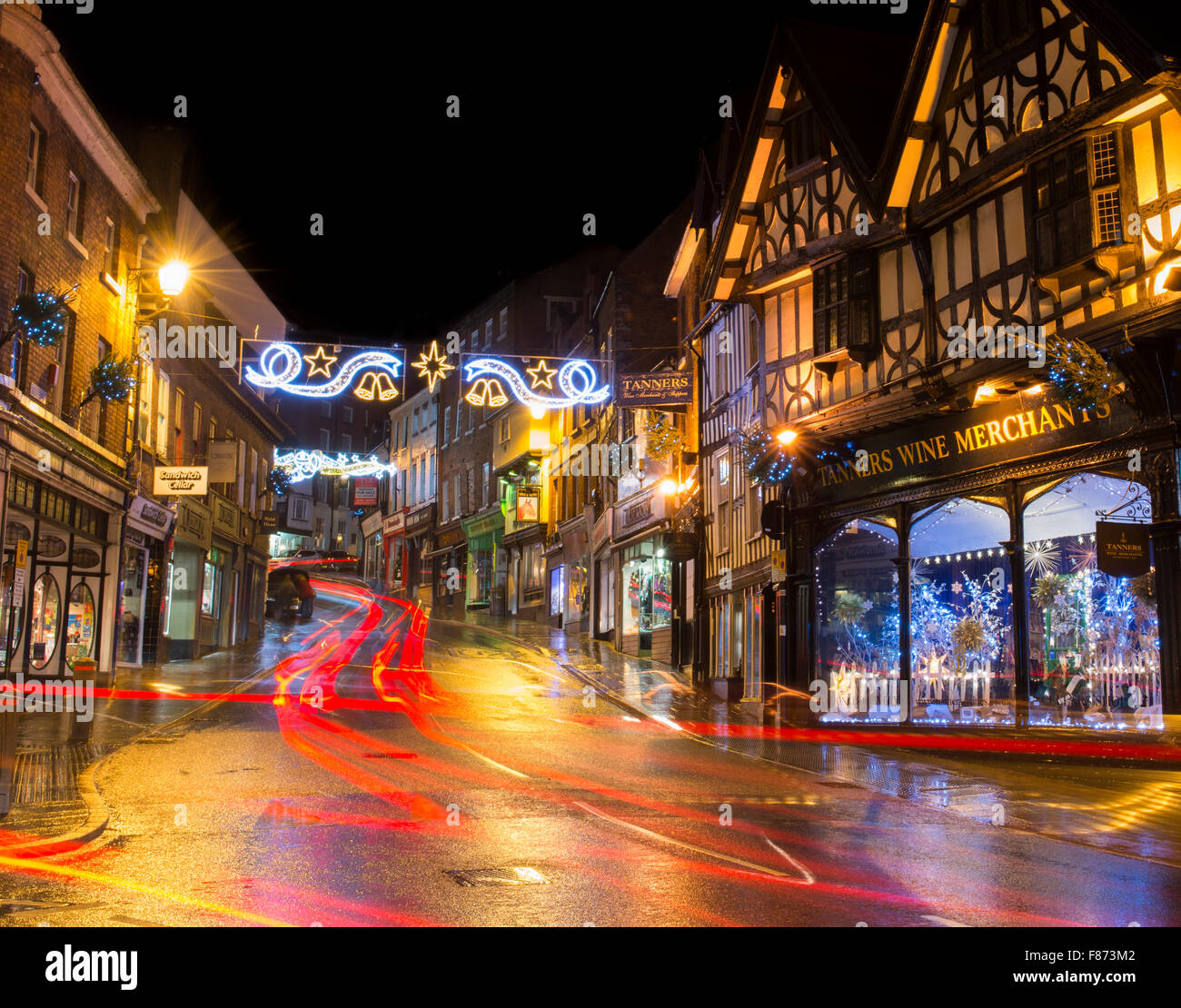 Christmas at Wyle Cop in Shrewsbury, Shropshire. - Stock Image
