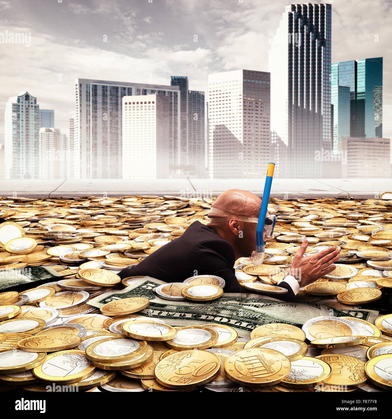 Swimming in wealth Stock Photo