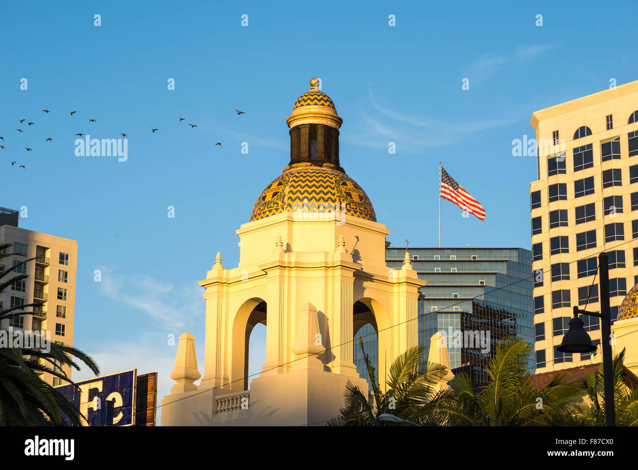 cupola, dome, American Flag, buildings.  Union Station, San Diego, California, USA. Stock Photo