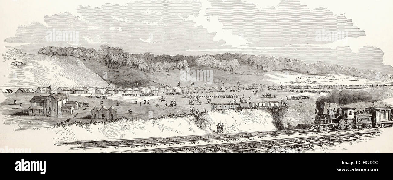 Camp Dennison, sixteen miles above Cincinnati on the banks of the Miami River, General Cox Commanding - The Cleveland, - Stock Image