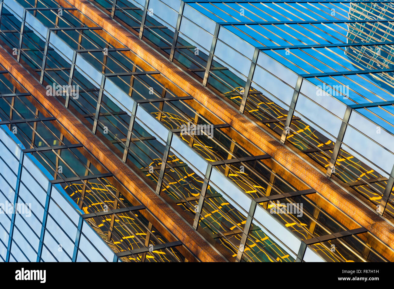 Abstract view of a glass tower and reflections in Vancouver Stock Photo