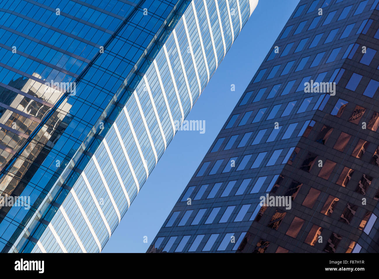 Abstract view of glass towers and reflections in Vancouver Stock Photo