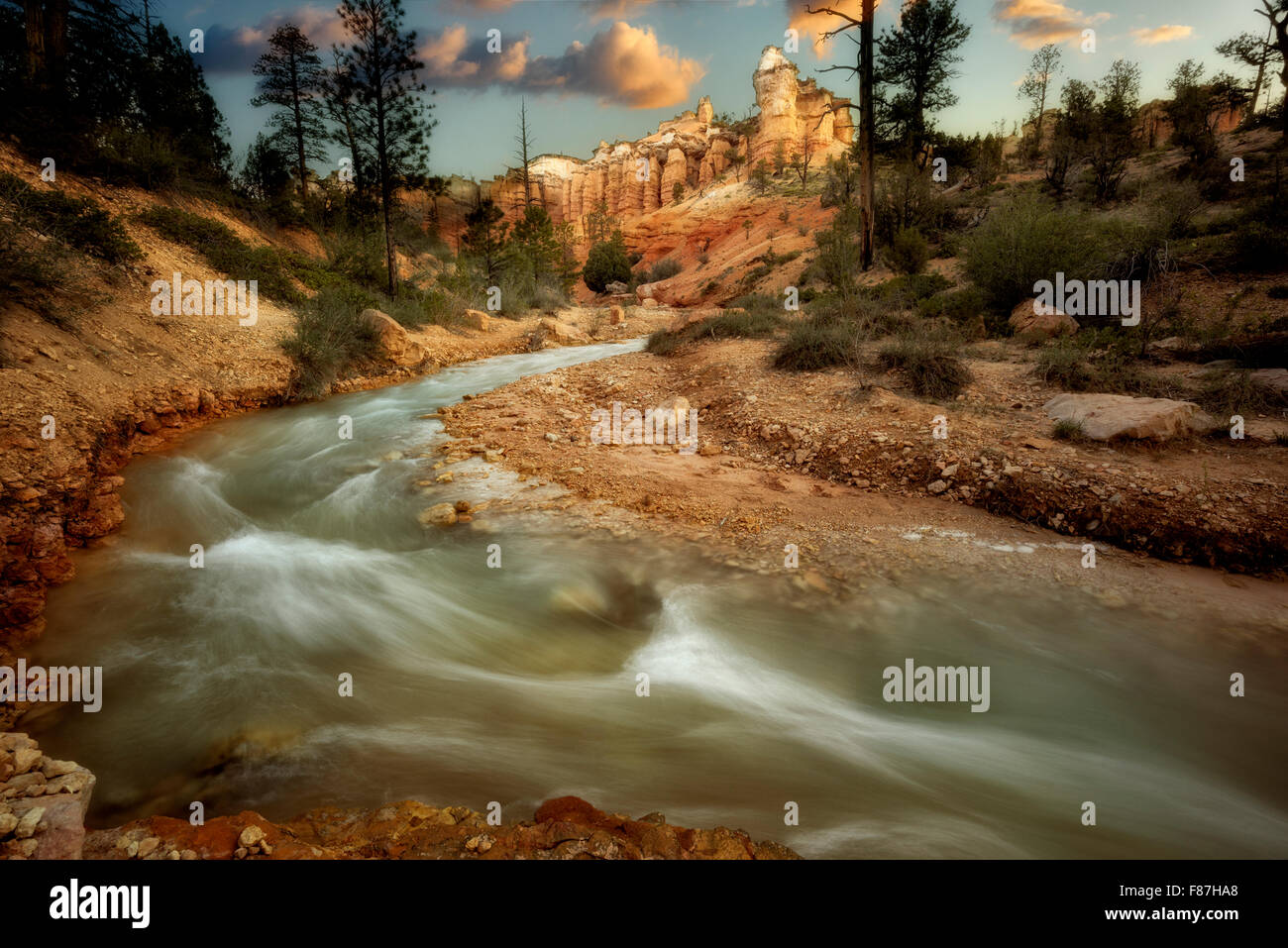 Rock formations and Tropic Ditch. Zion National Park, Utah - Stock Image