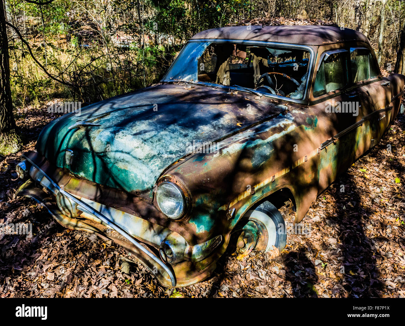 Old, junk cars in the woods Stock Photo: 91140054 - Alamy