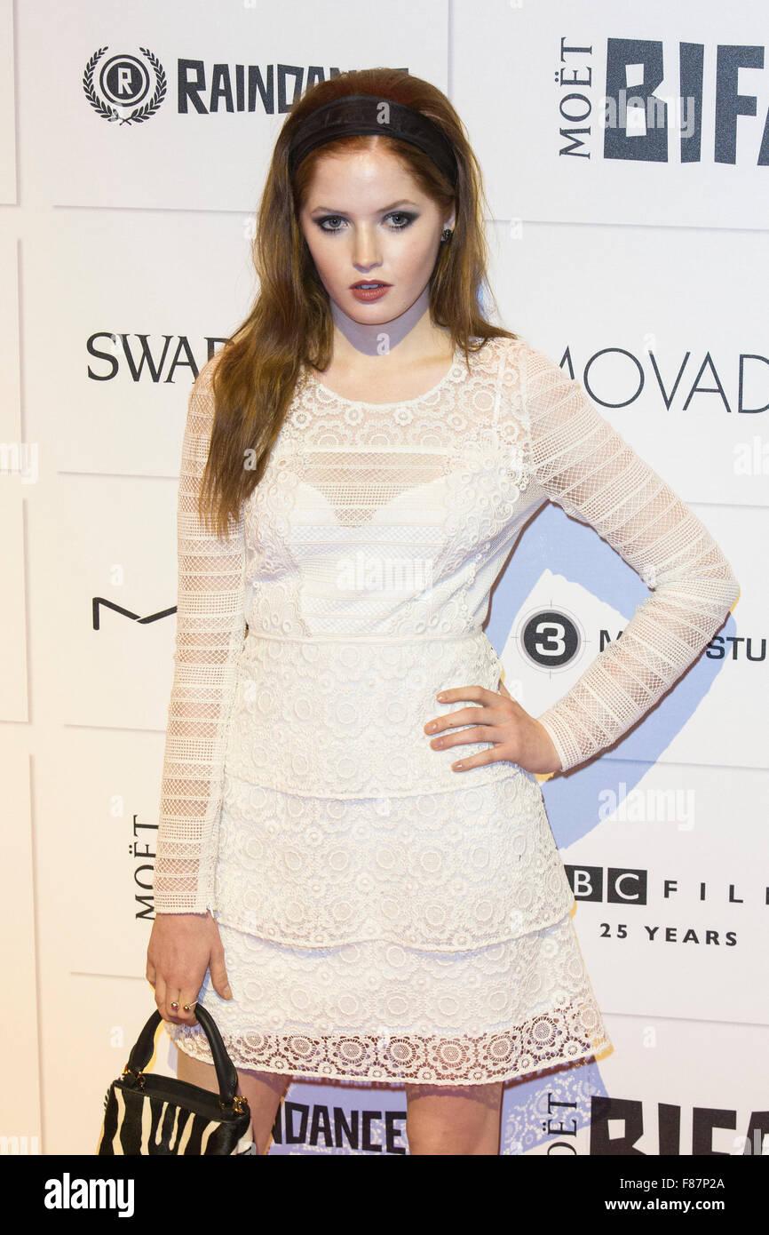 London, UK. 6 December 2015. Ellie Bamber. Red carpet arrivals for the 2015 Moet British Independent Film Awards - Stock Image