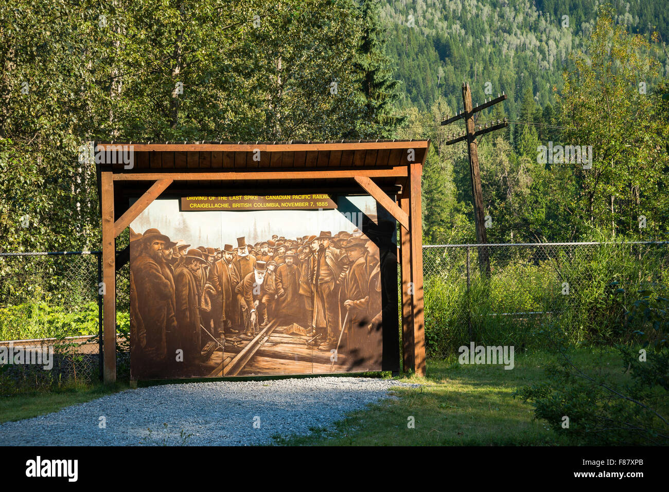 Mural depicting the driving of the last spike on the Canadian Pacific Railway, at Craigellachie, British Columbia, - Stock Image