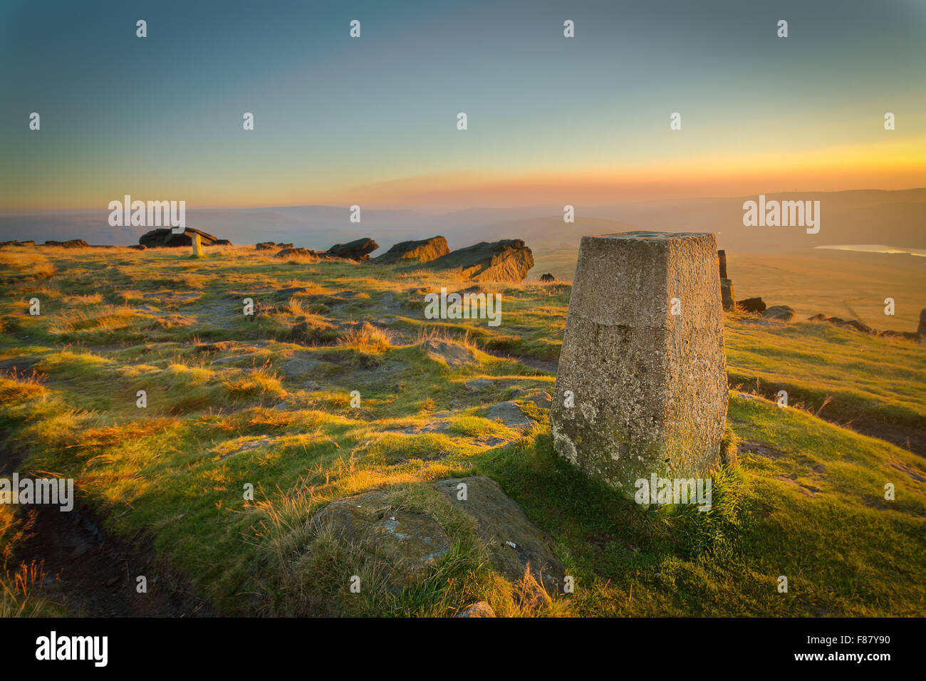 A view over Saddleworth from the Triangulation Point on Millstone Edge, Marsden Moor. - Stock Image