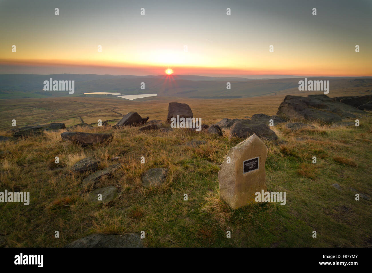 A view over the Castleshaw reservoirs from the milestone on Marsden Moor. - Stock Image