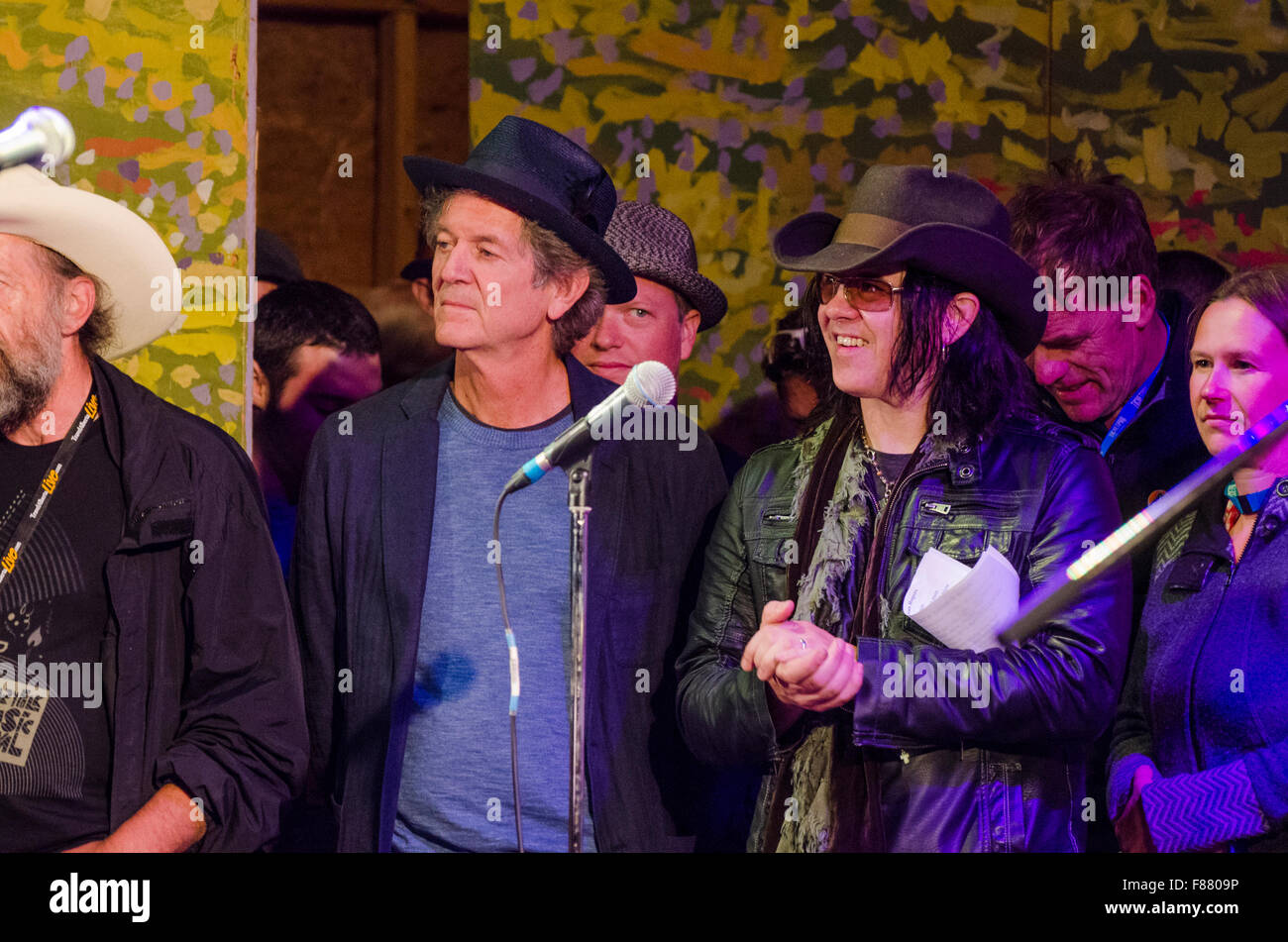 Rodney Crowell  and Mike Farris at the Canmore Folk Music Festival. - Stock Image