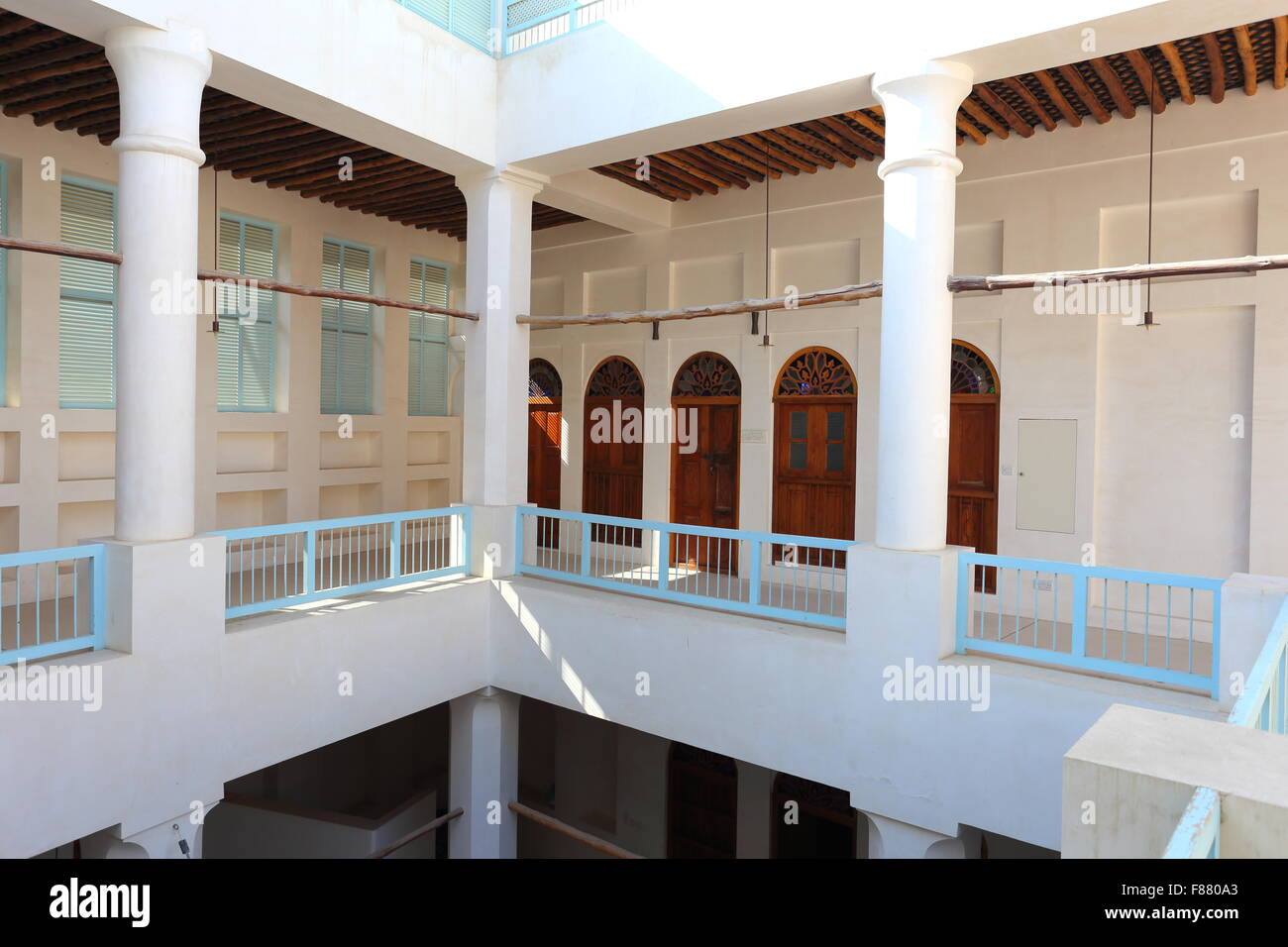Interior balconies above the courtyard of the Khalaf House, Manama, Kingdom of Bahrain - Stock Image