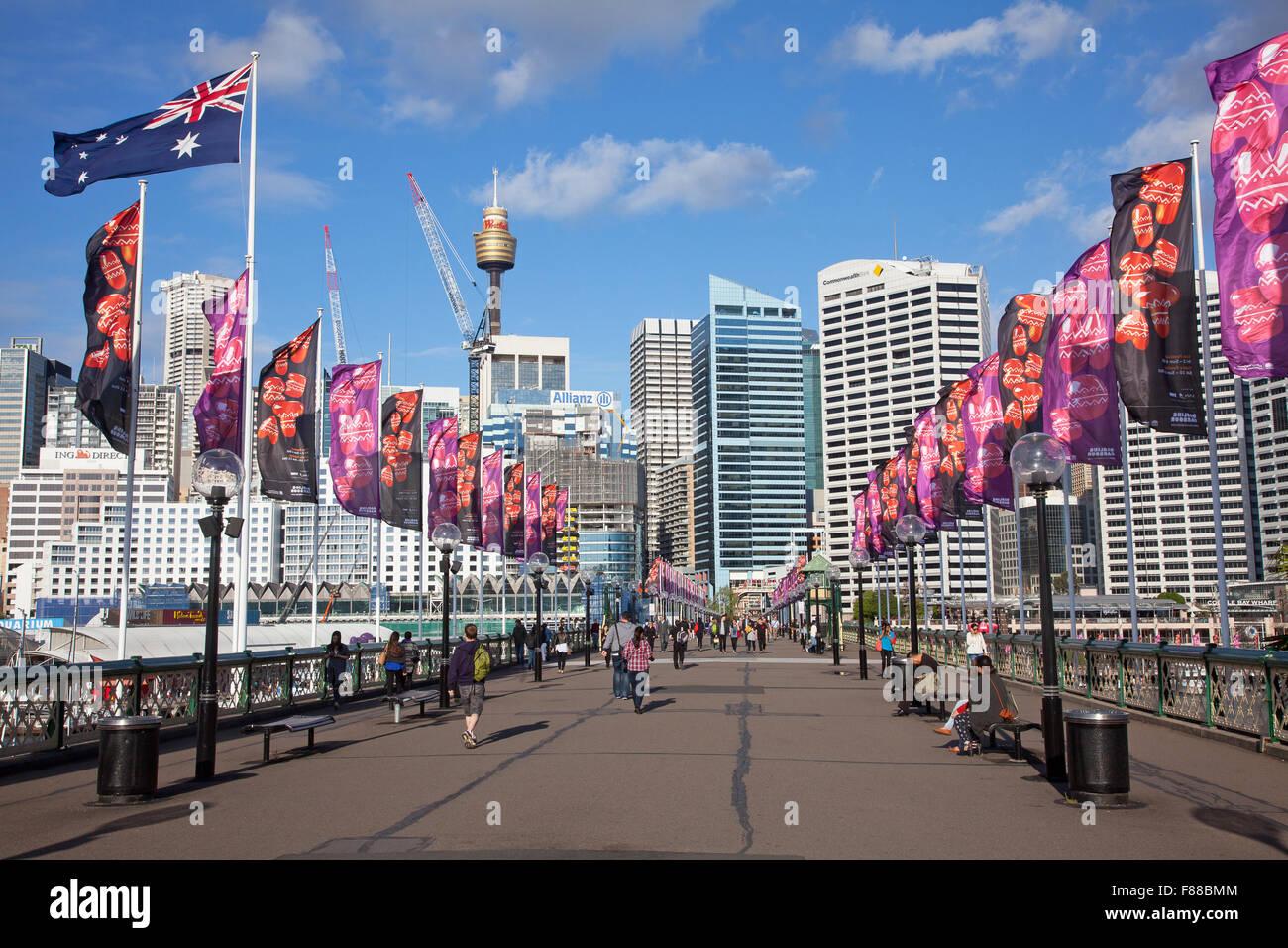 Pyrmont Bridge, Darling Harbour, Sydney, NSW, Australia - Stock Image