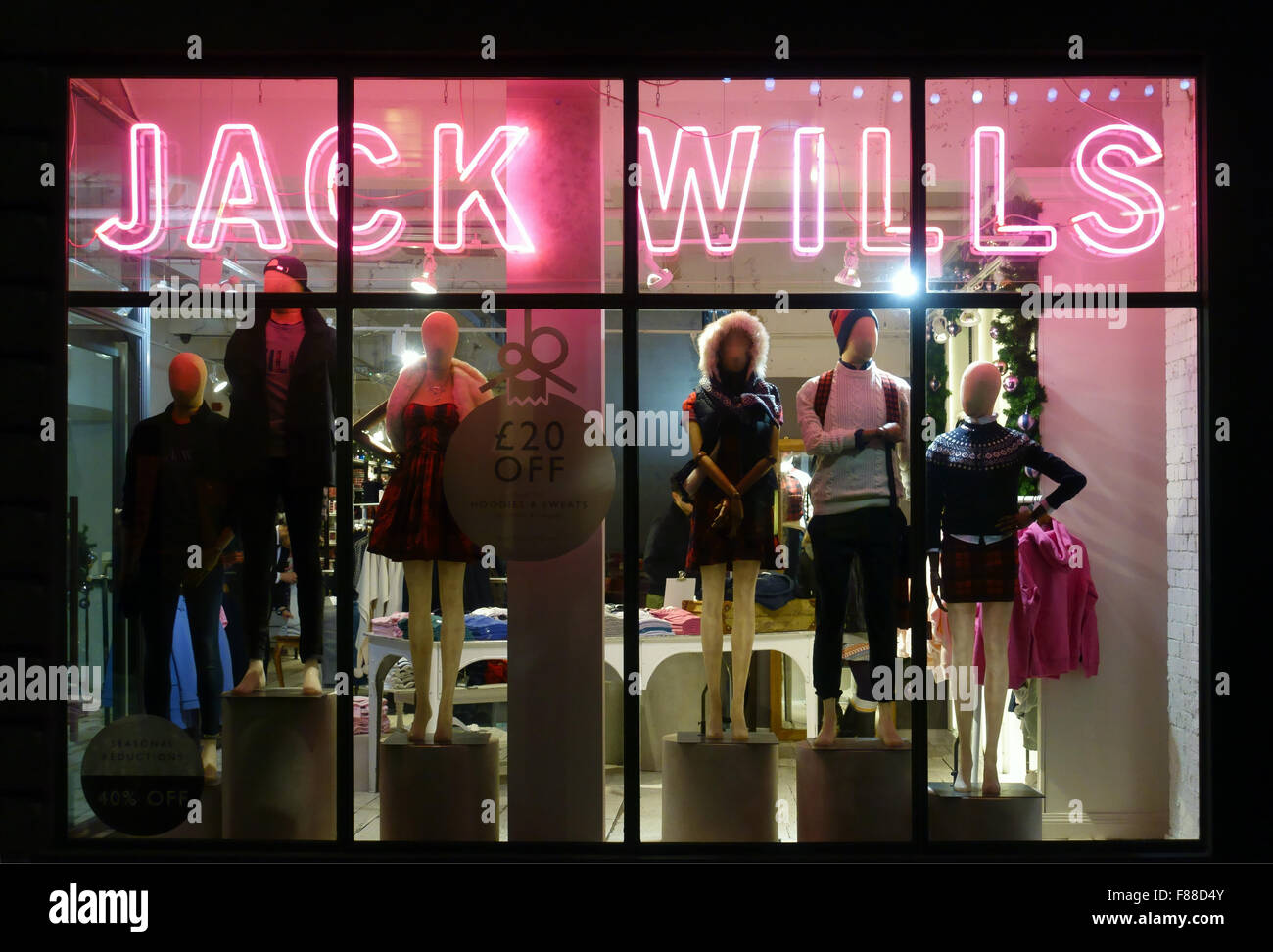 Illuminated Jack Wills shop front Carnaby street London - Stock Image