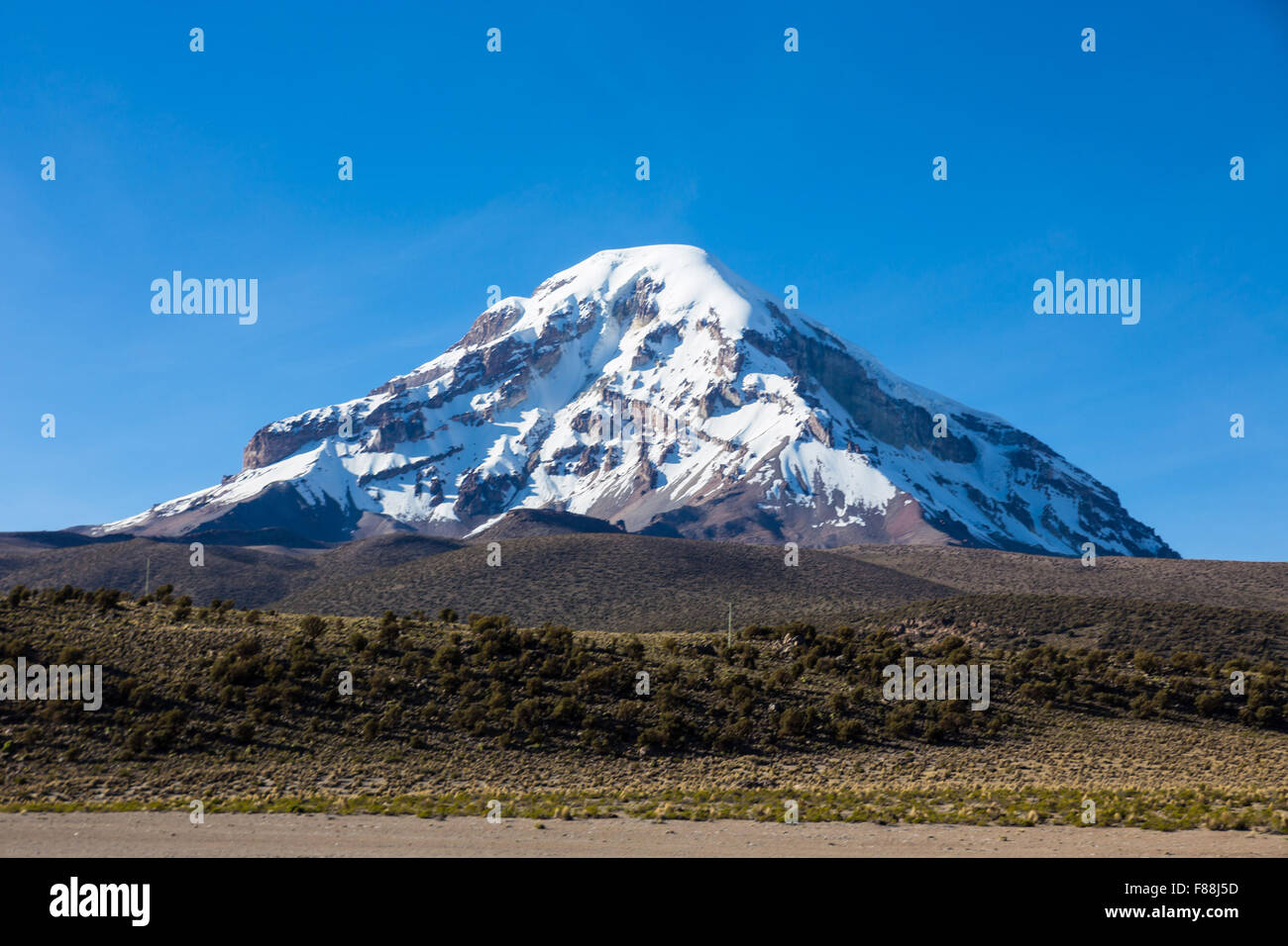 Sajama volcano in the Natural Park of Sajama. Bolivia - Stock Image
