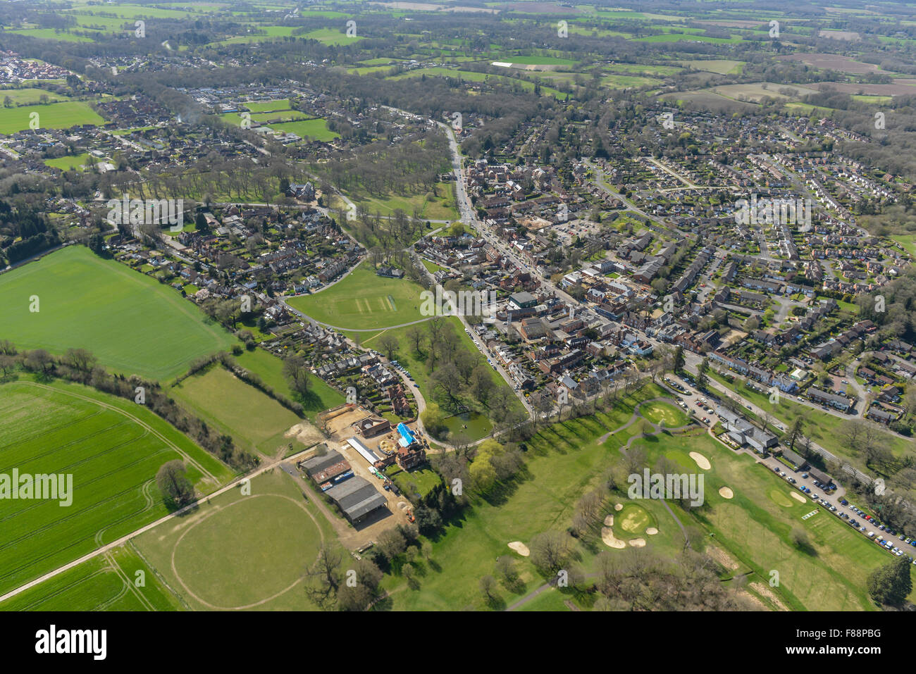 An aerial view of the Hampshire village of Hartley Wintney, close to Hook and Farnborough - Stock Image