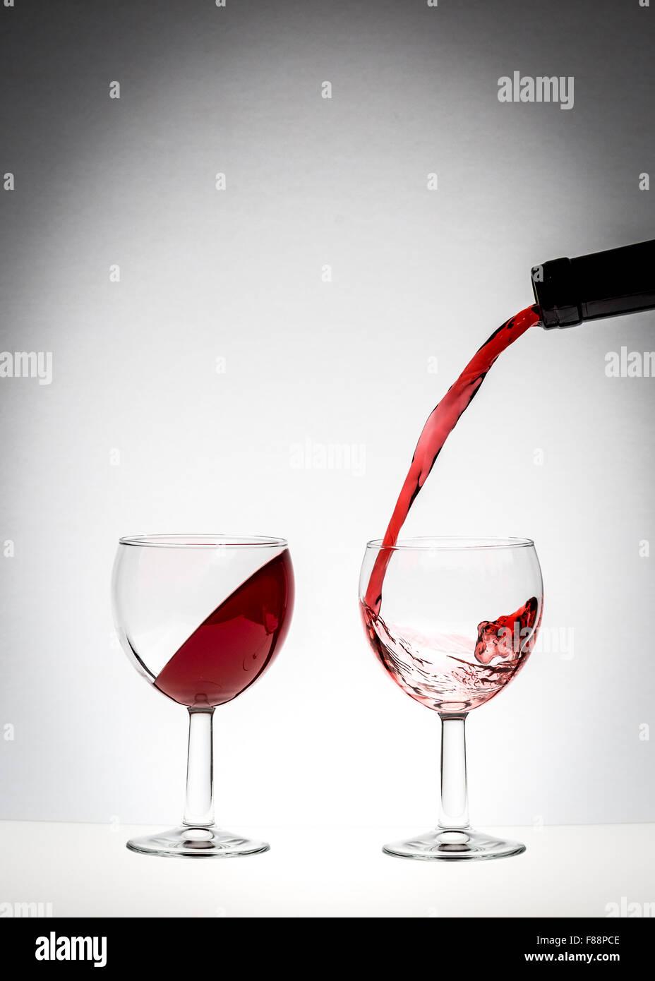 Gravity defying wine - Stock Image