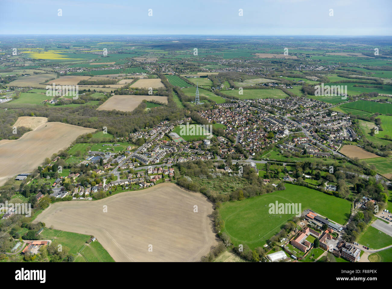 An aerial view of the Essex village of Kelvedon Hatch and surrounding countryside - Stock Image