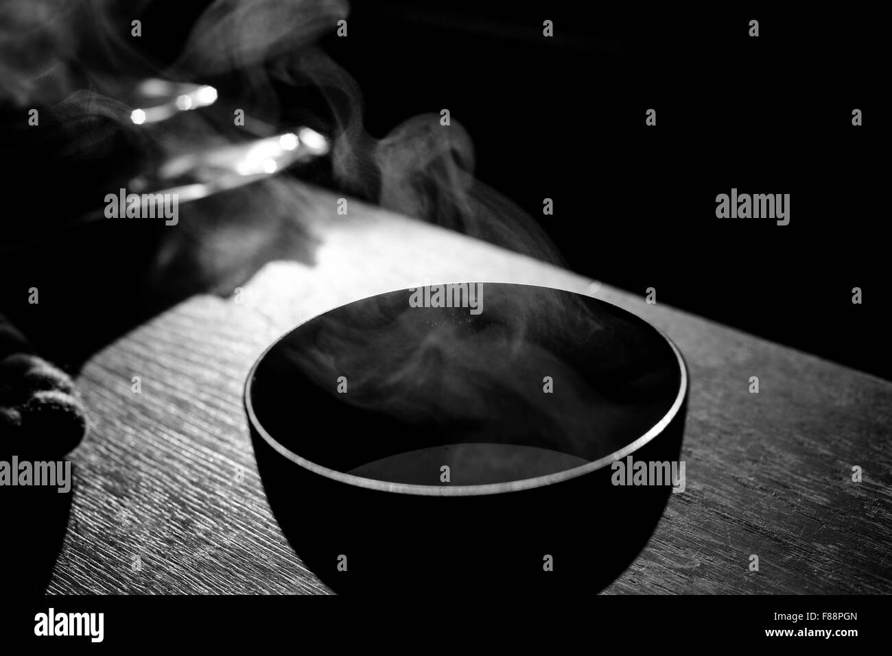 Soup bowl with steam rising up - Stock Image