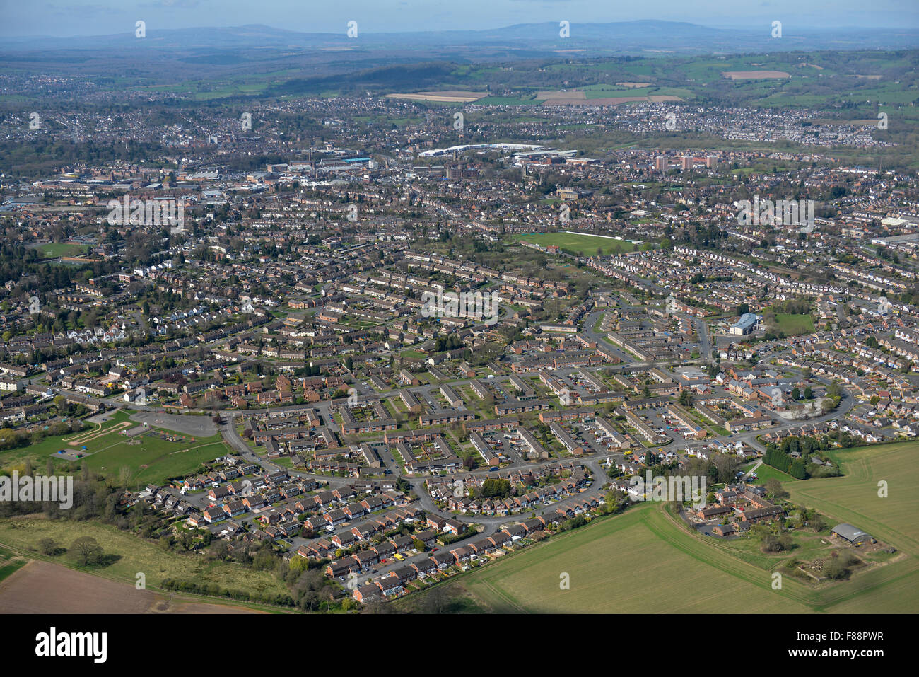 An aerial view of the Worcestershire town of Kidderminster - Stock Image