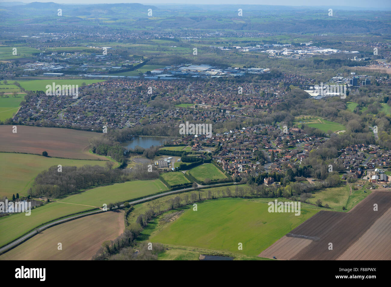 An aerial view of the Spennells area of Kidderminster - Stock Image