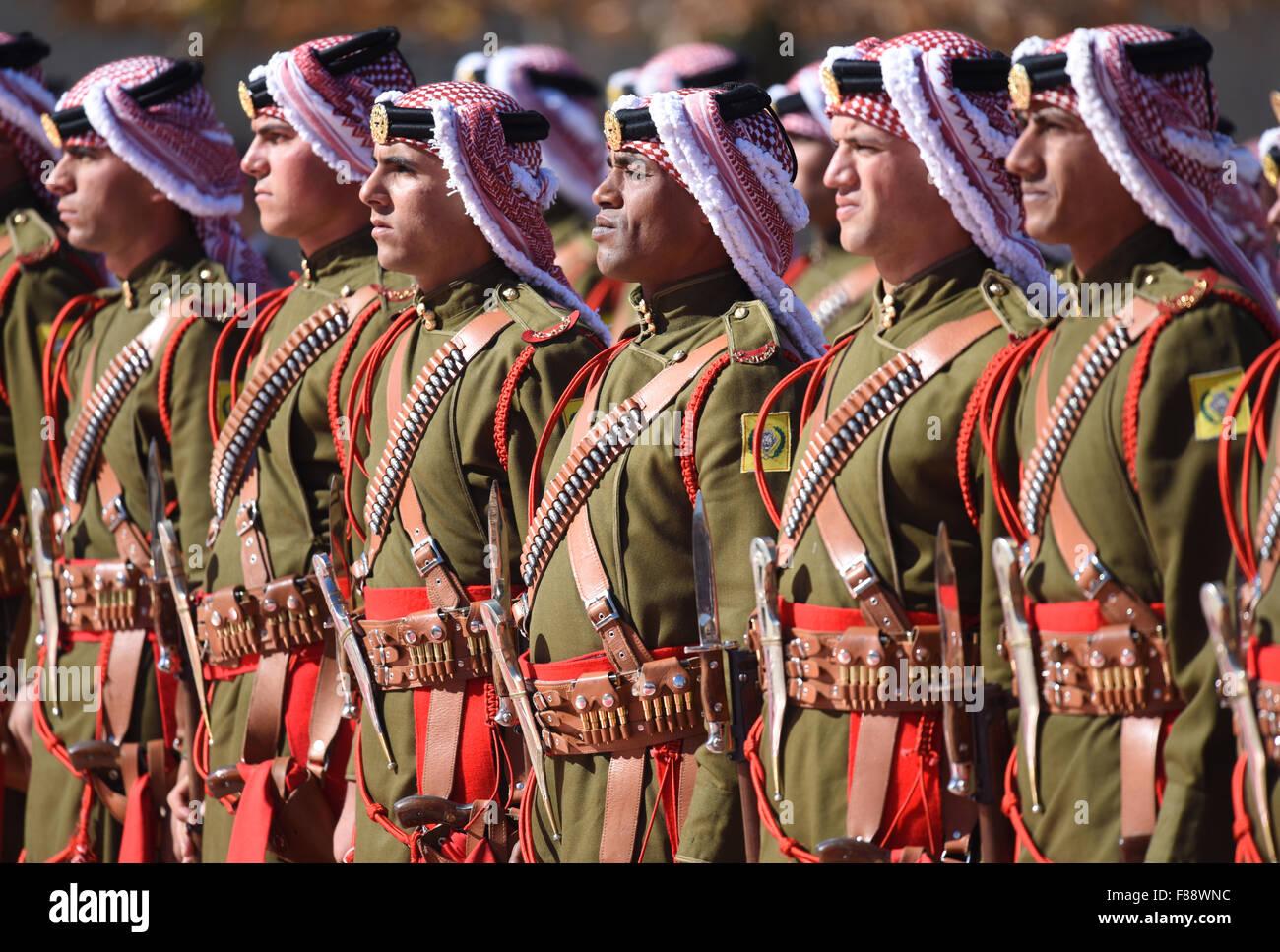 Amman Jordan 07th Dec 2015 The Honor Guard Of The Jordanian King