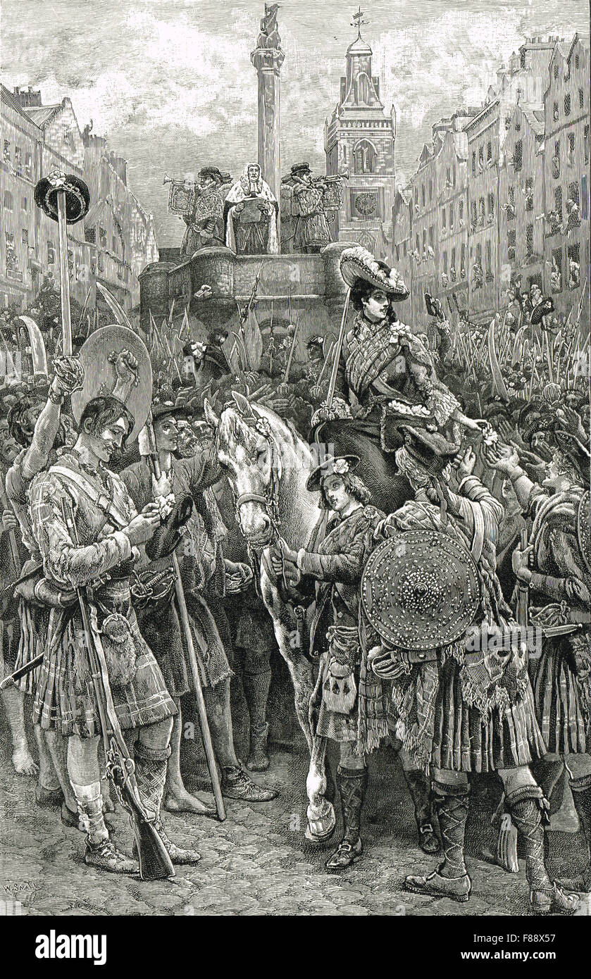 Proclamation of The Old Pretender as James VIII at Mercat Cross, Edinburgh 1745 - Stock Image