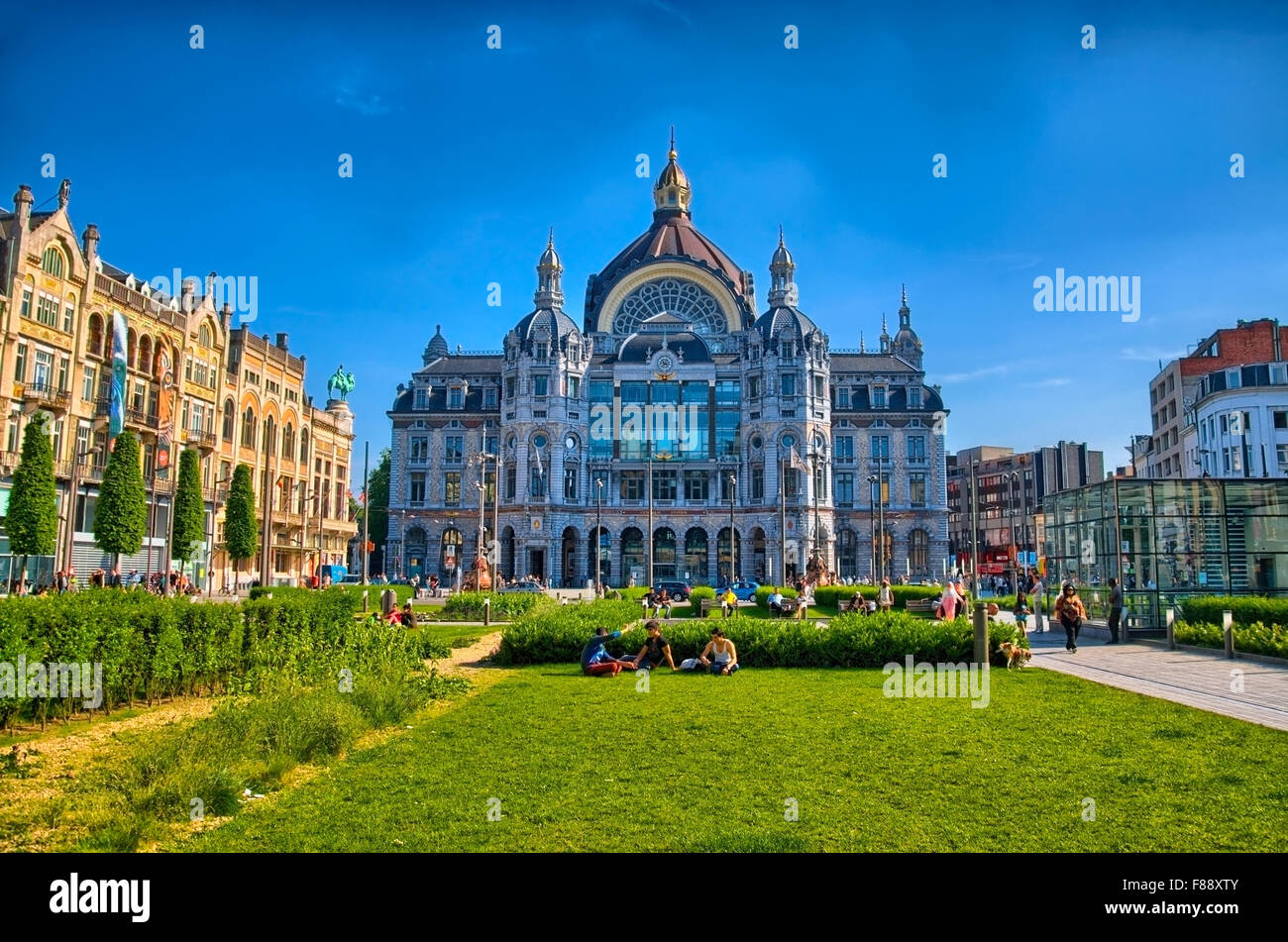 Central station of Antwerp, Belgium, Benelux, HDR - Stock Image
