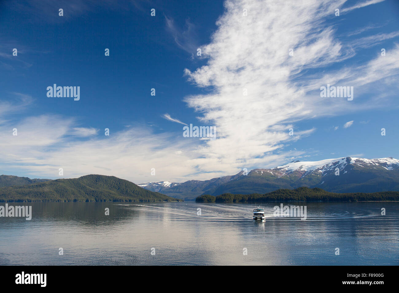 boat in Tracy Arm Fjord - Stock Image
