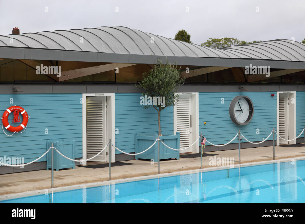 A changing room block at a new open air swimming pool in London, UK ...