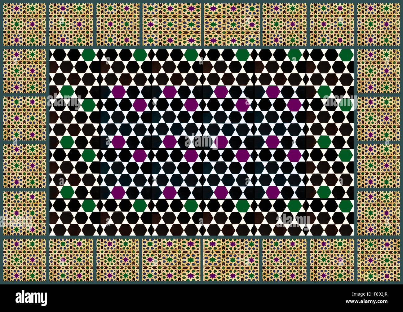 Moorish geometric patterns pattern - Stock Image