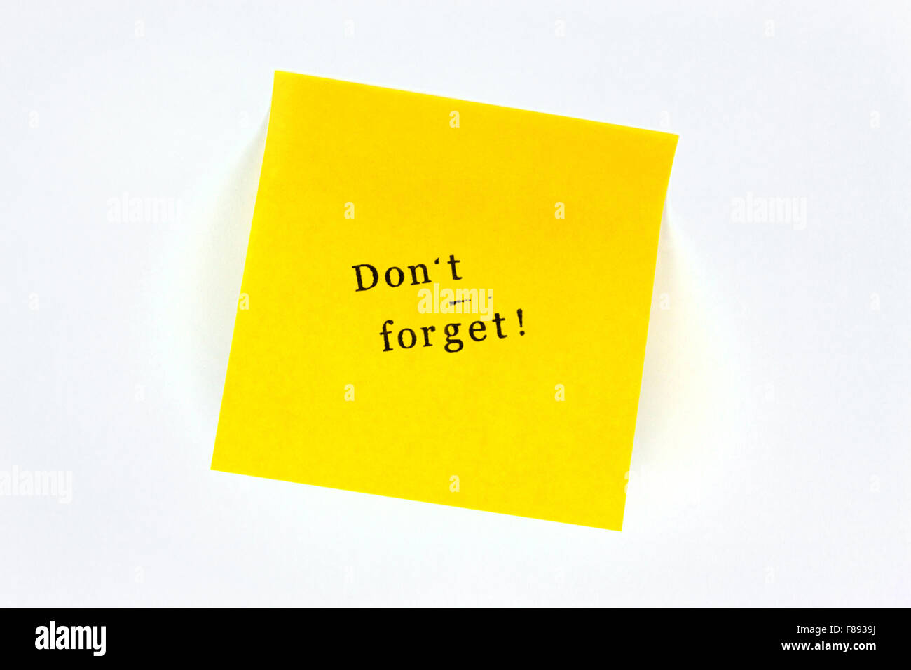 Do not forget Post it Stock Photo