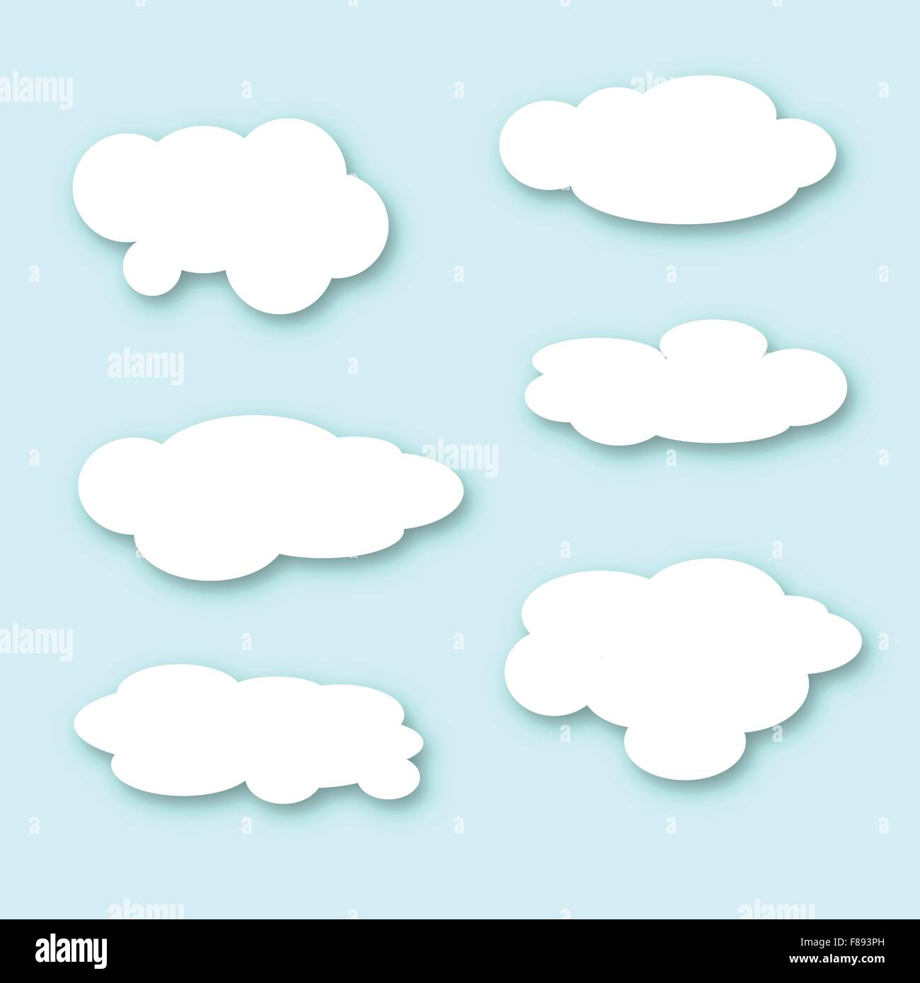 A collection of large fluffy style clouds over a blue sky - Stock Vector