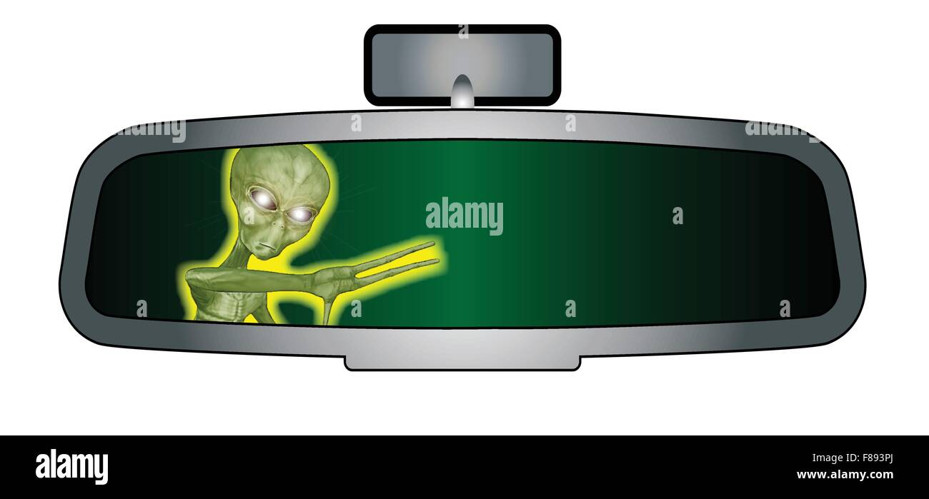 Depiction of a vehicle rear view mirror with an alien beast - Stock Image