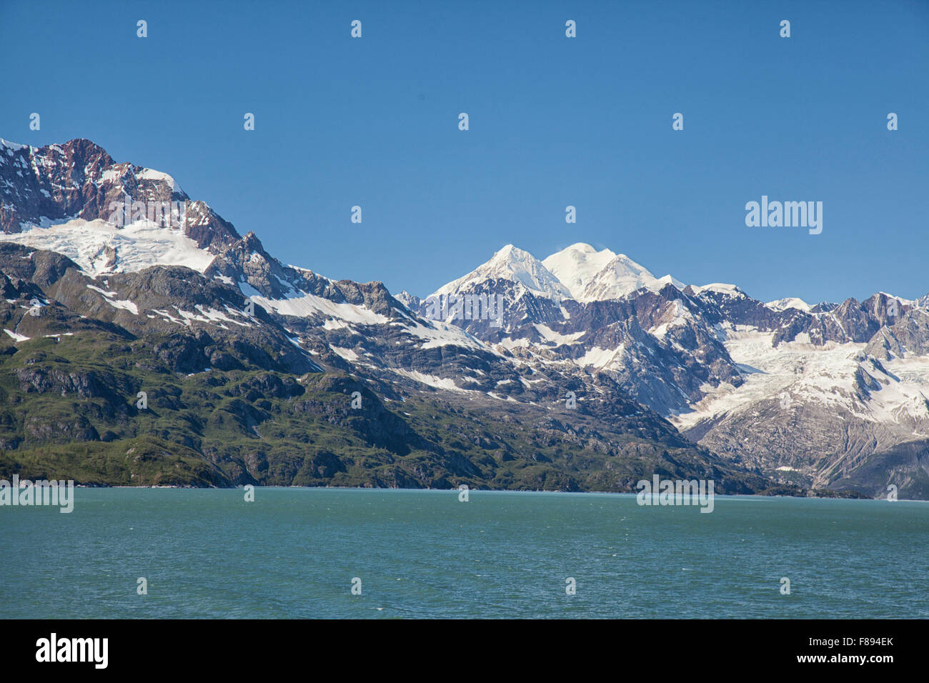 mountain peaks and rugged terrain in alaska - Stock Image
