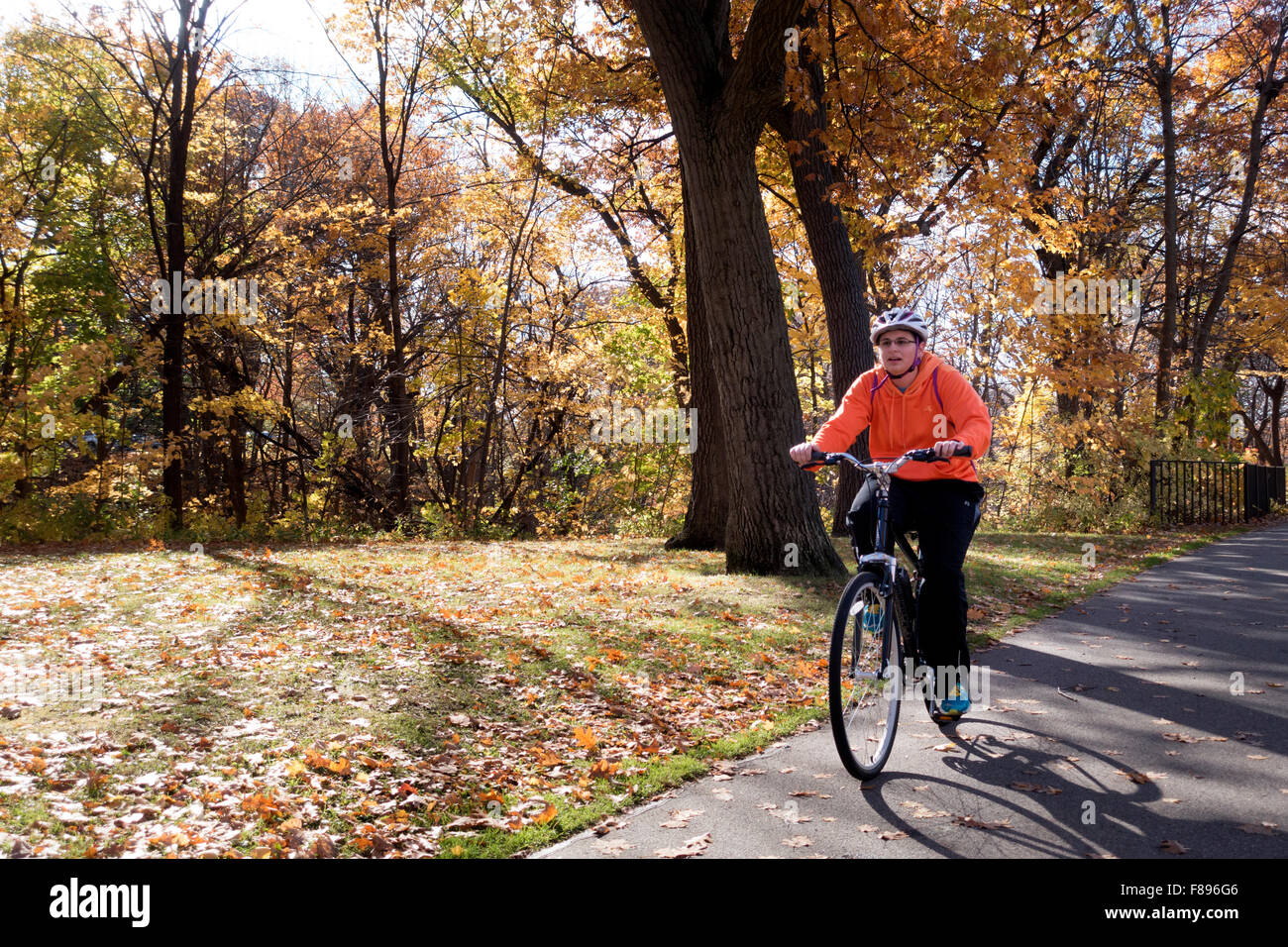 Woman bicycling on North Mississippi River Boulevard Trail on a beautiful autumn day. St Paul Minnesota MN USA - Stock Image