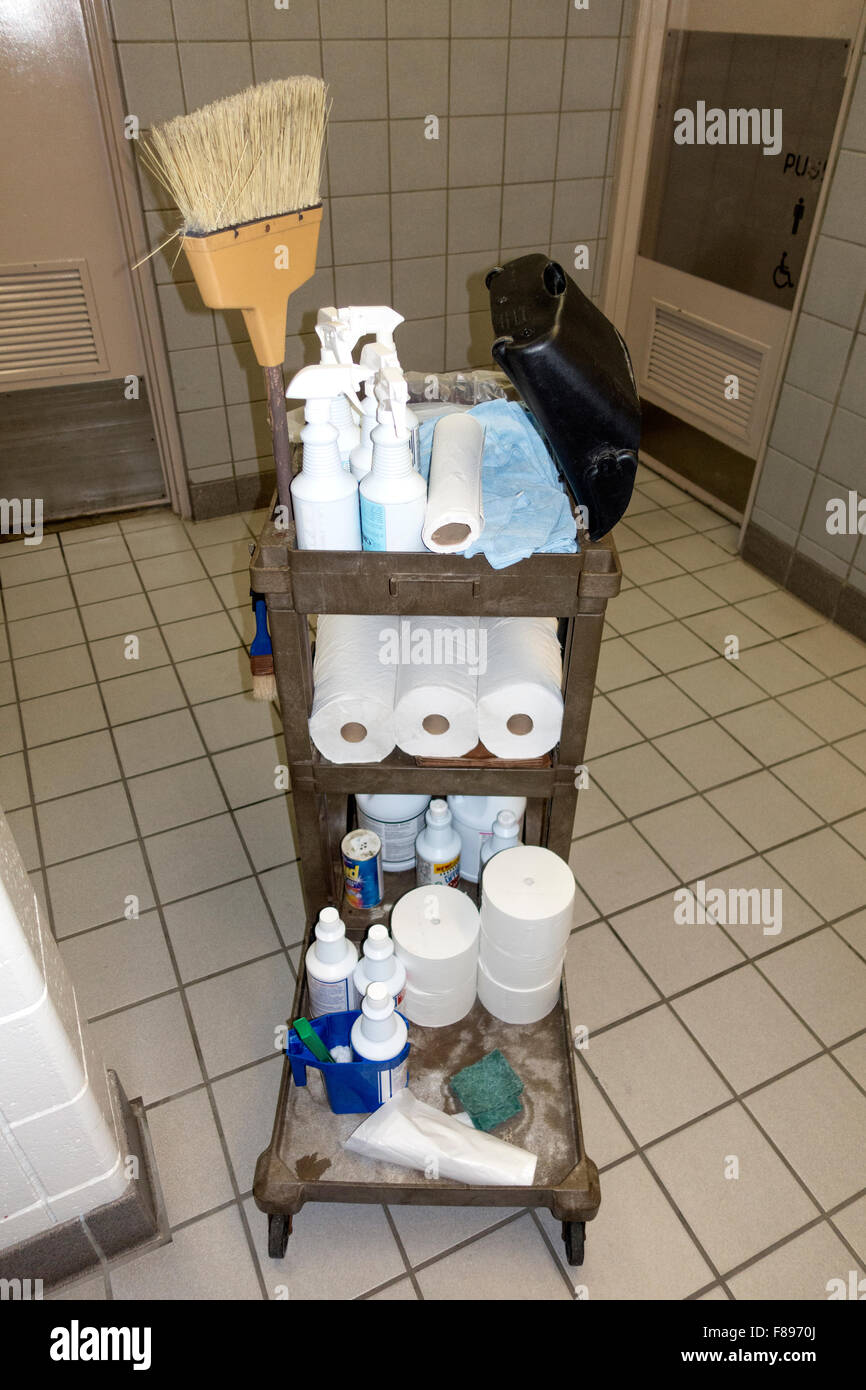 Cart with supplies for cleaning rest stop bathrooms. Freeway 94 Wisconsin WI USA - Stock Image