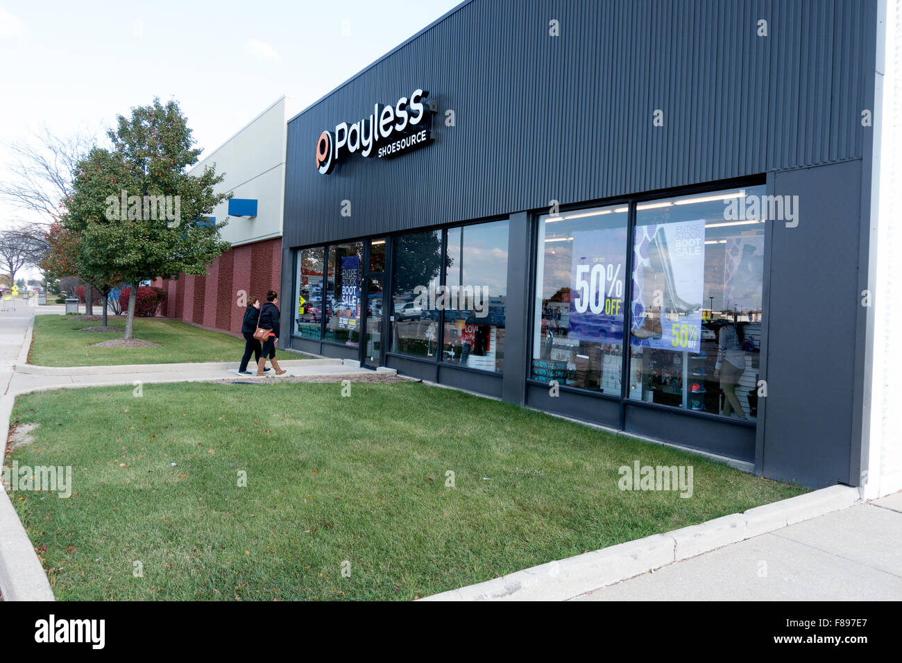 Customers arriving at Payless ShoeSource to shop for shoes