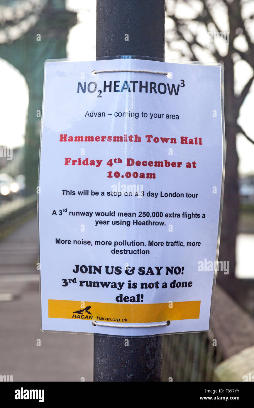 London, Hammersmith  A flier on Hammersmith Bridge for support against a third Heathrow runway - Stock Image