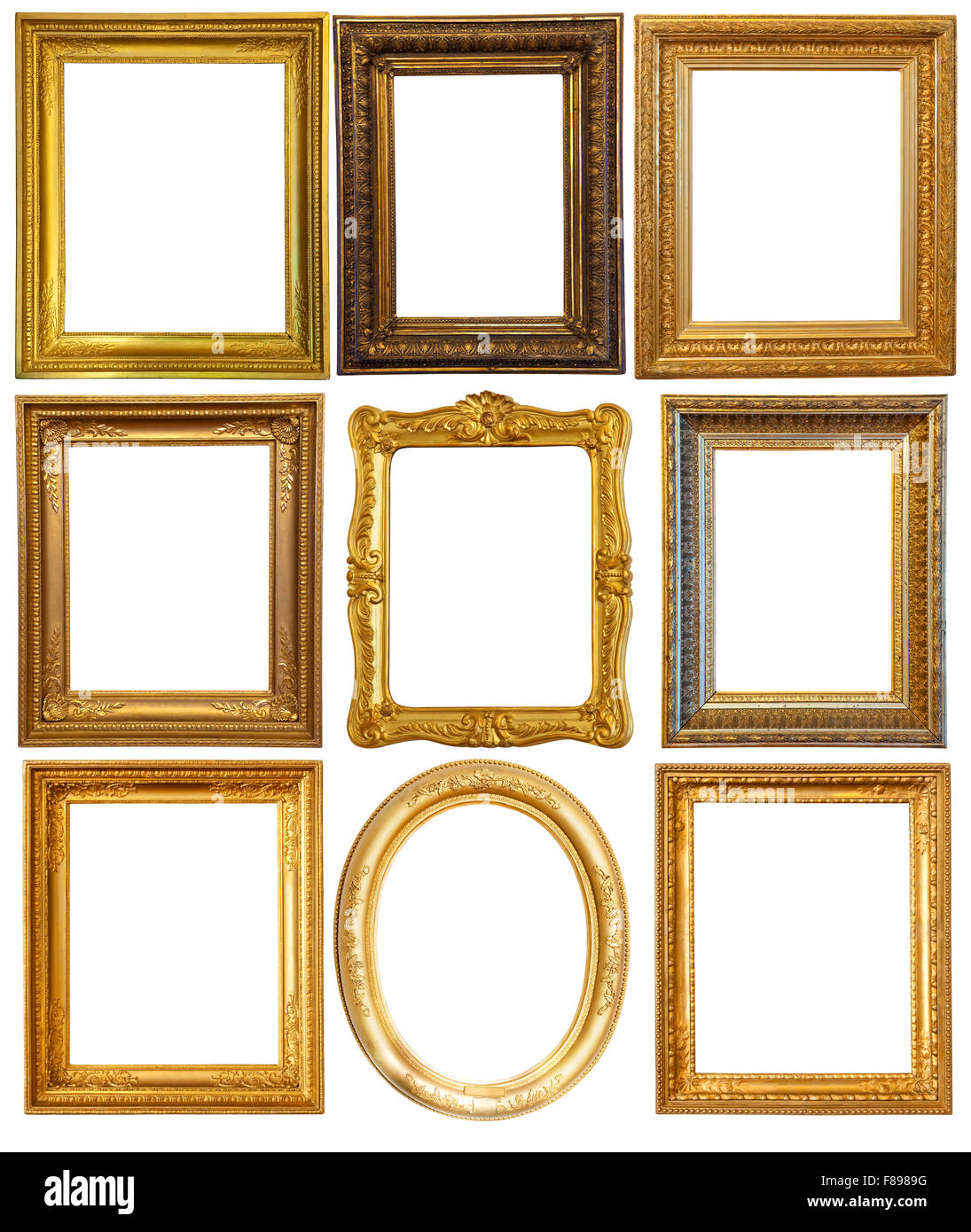 Set of few Luxury gilded frames. Isolated over white background with ...
