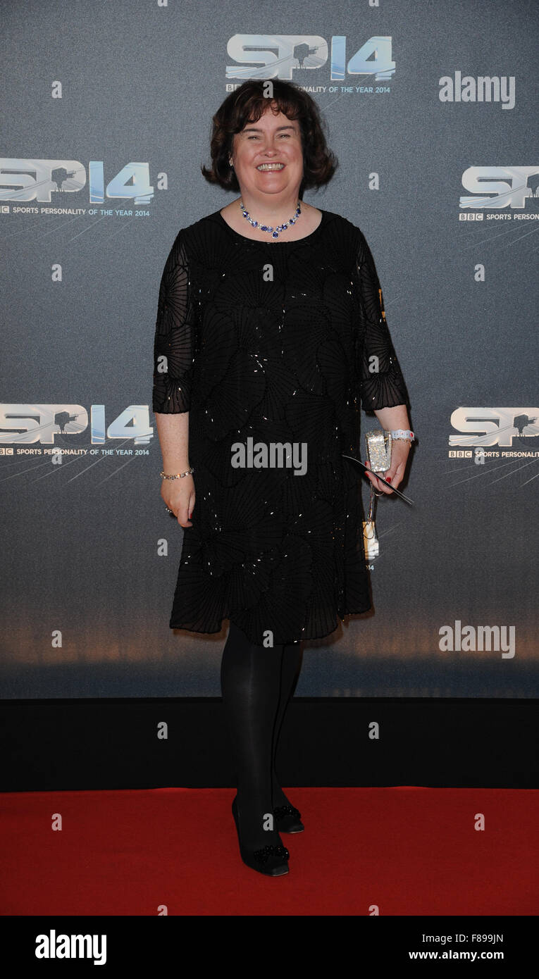 Susan Boyle attends the BBC Sports Personality of the Year awards at The SSE Hydro in Glasgow, Scotland. - Stock Image
