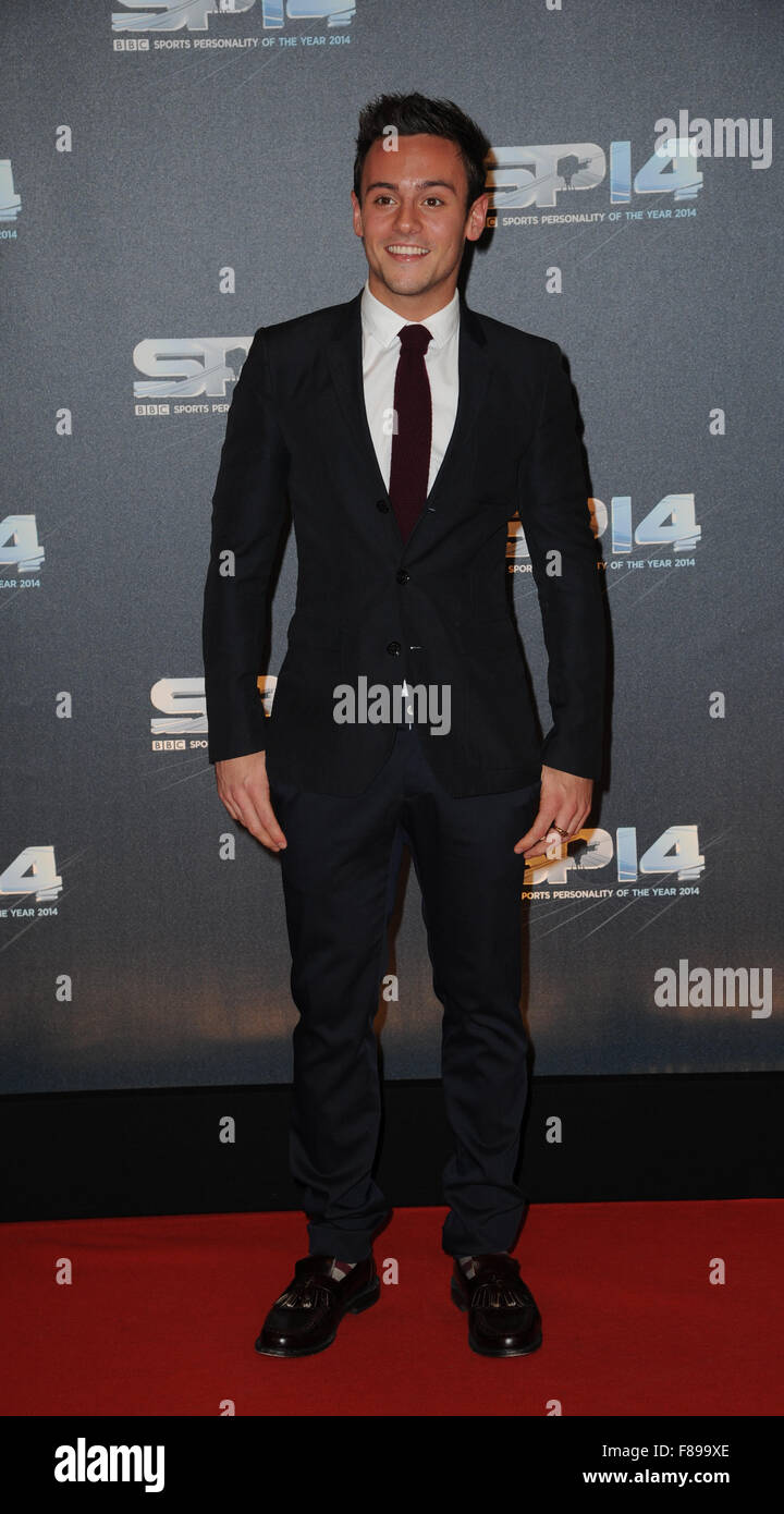 Tom Daley attends the BBC Sports Personality of the Year awards at The SSE Hydro oin Glasgow, Scotland - Stock Image