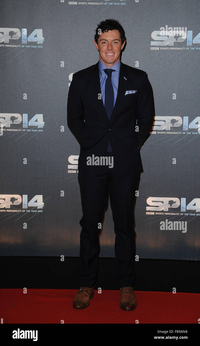 Rory McIlroy attends the BBC Sports Personality of the Year awards at The SSE Hydro in Glasgow, Scotland - Stock Image