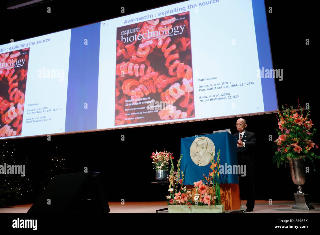Stockholm, Sweden. 7th Dec, 2015. The 2015 Nobel Prize laureate for Physiology or Medicine Satoshi Omura addresses Stock Photo