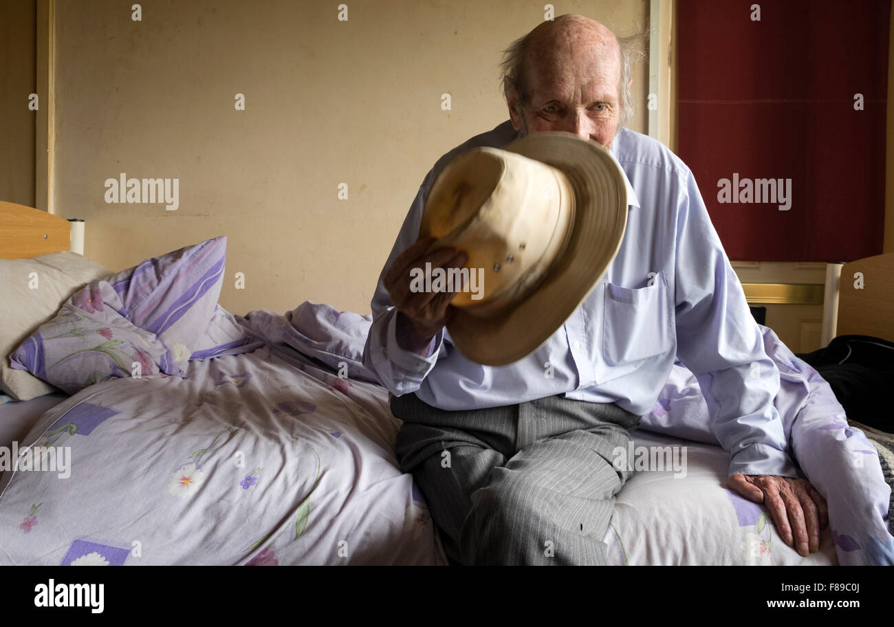 Impoverished bedridden man, Alderton, Suffolk, UK. - Stock Image
