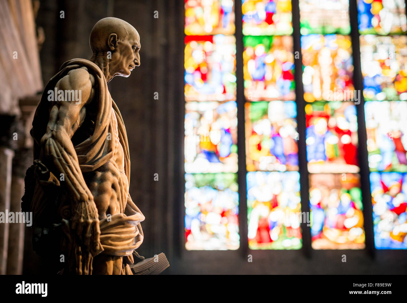 Interior of Milan Cathedral, Piazza Duomo, Milan, Lombardy, Italy Stock Photo