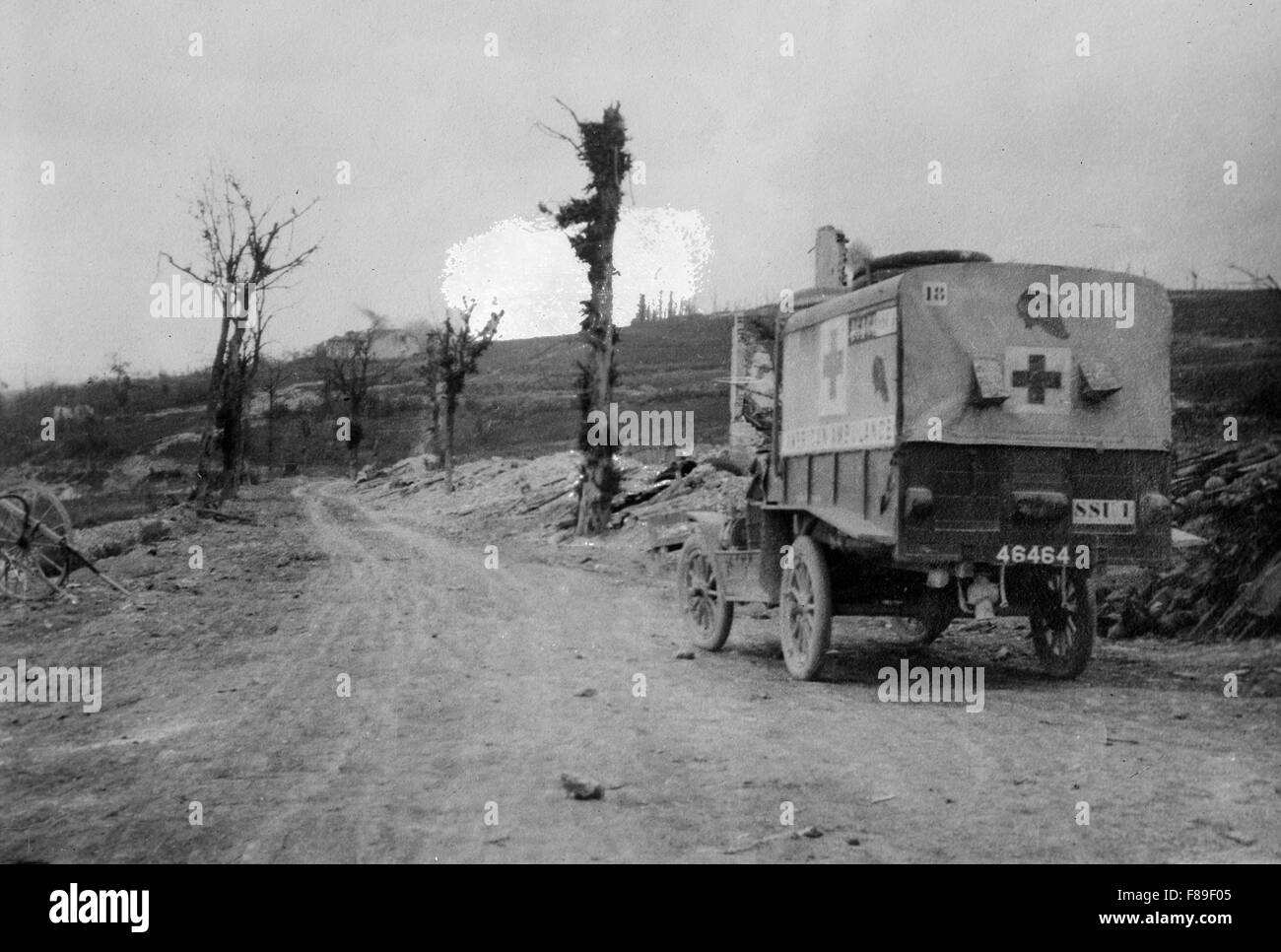 American Ambulance on road to Verdun in France - Stock Image